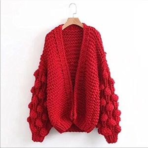 Bright red bubble sleeve cardigan